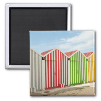 Colorful Huts On Beach Magnet