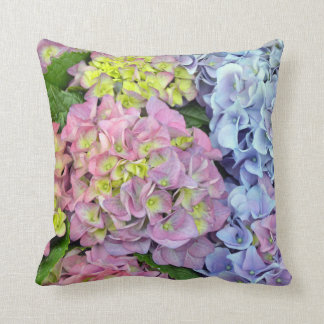 Colorful hydrangea flower print throw pillow