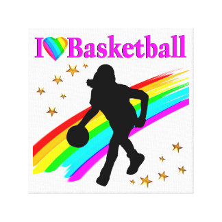 COLORFUL I LOVE BASKETBALL DESIGN CANVAS PRINT