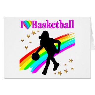 COLORFUL I LOVE BASKETBALL DESIGN CARD