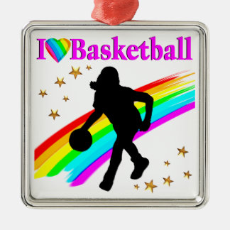COLORFUL I LOVE BASKETBALL DESIGN METAL ORNAMENT