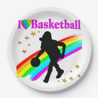 COLORFUL I LOVE BASKETBALL DESIGN PAPER PLATE