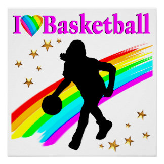 COLORFUL I LOVE BASKETBALL DESIGN POSTER