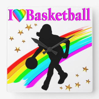 COLORFUL I LOVE BASKETBALL DESIGN SQUARE WALL CLOCK