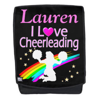 COLORFUL I LOVE CHEERLEADING PERSONALIZED BACKPACK