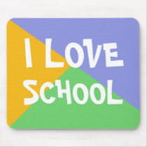 Colorful I Love School Boy Blue custom Text Mouse Pad