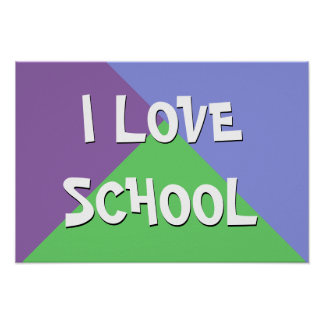 Colorful I Love School Boy Custom Text Poster