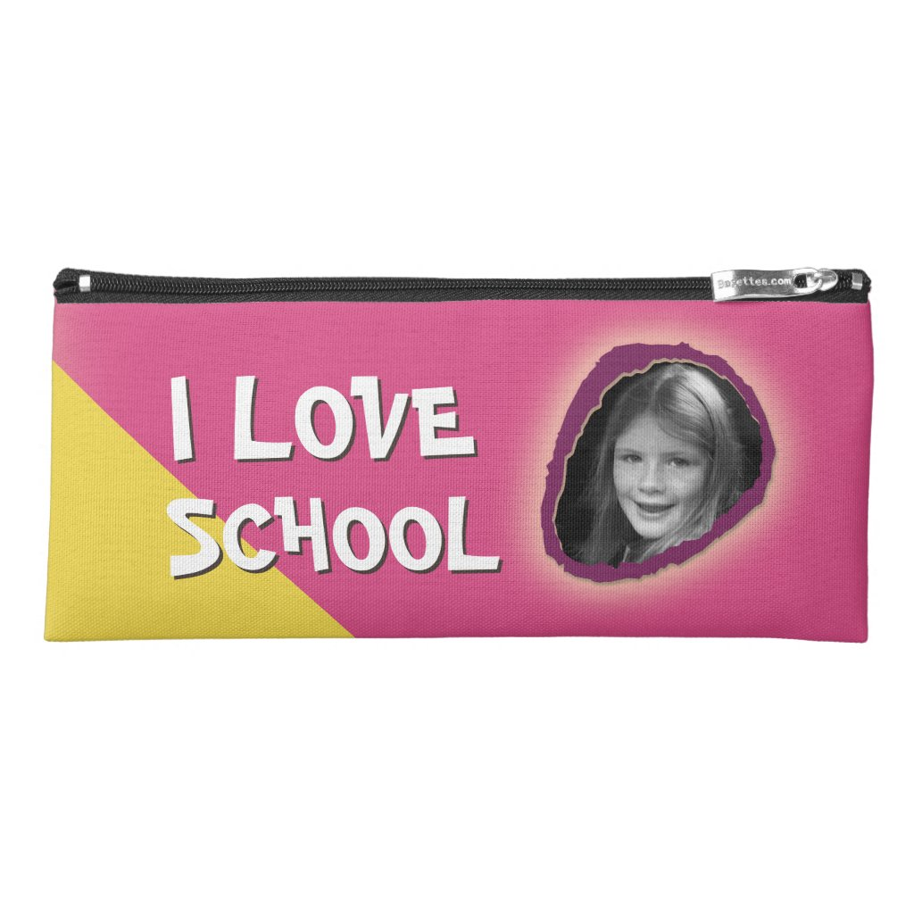 Colorful I Love School Custom Text and Photo Girl