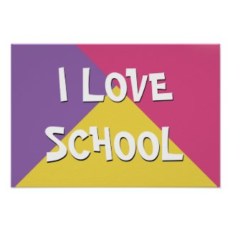 Colorful I Love School Girl Custom Text