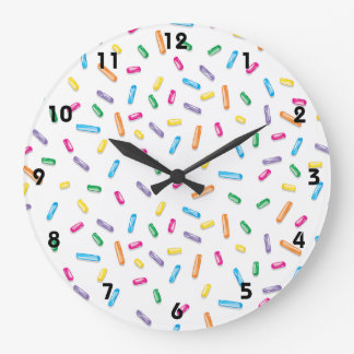 Colorful Ice Cream Candy Sprinkles Large Clock