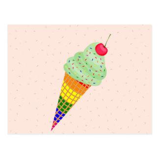 Colorful Ice Cream Cone Design Postcard