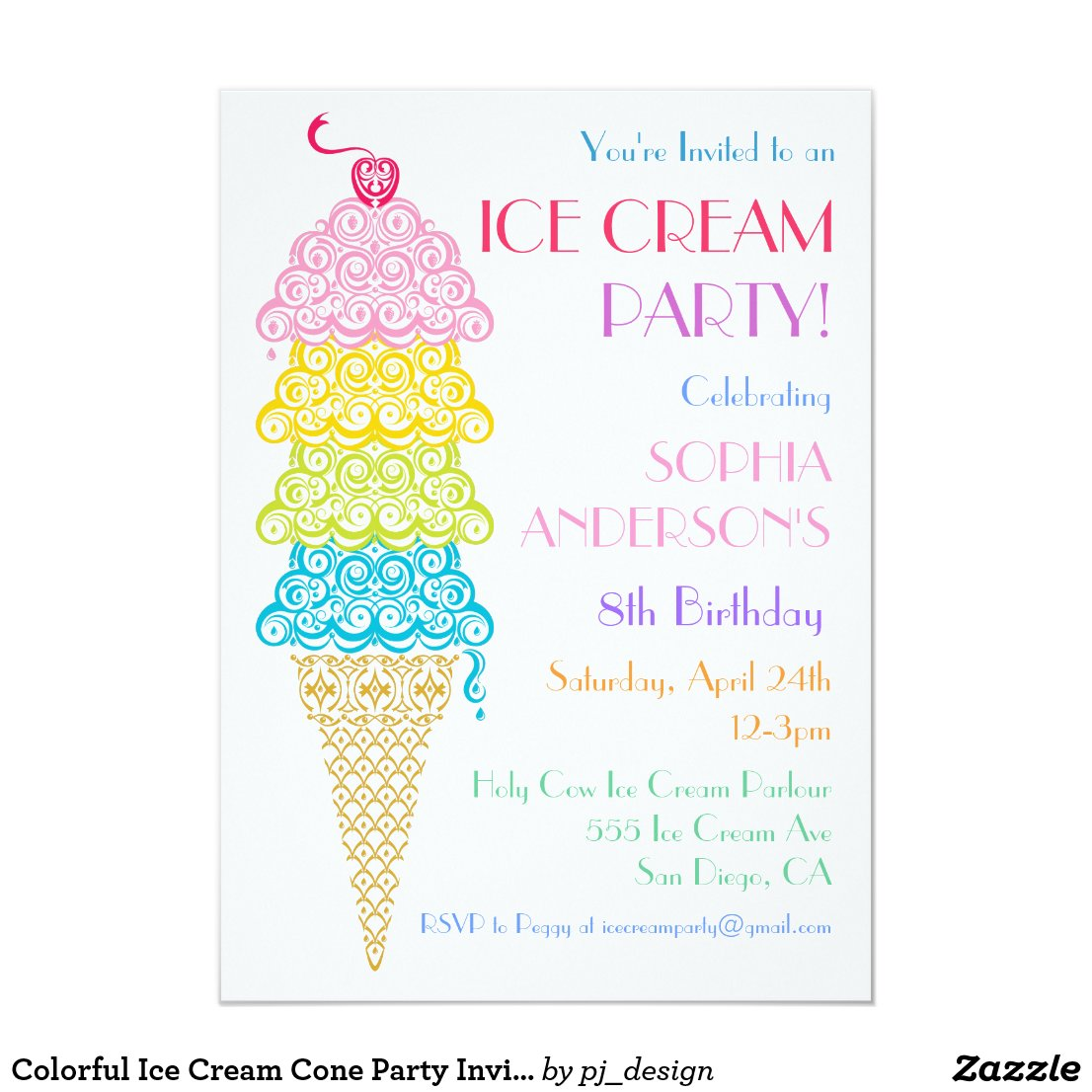 Colorful Ice Cream Cone Party Invitation