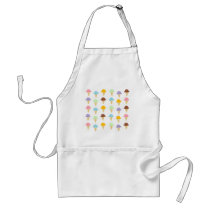 Colorful Ice Cream Cones Adult Apron