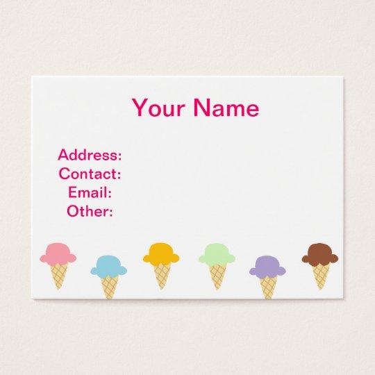 Colorful Ice Cream Cones Business Card