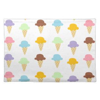 Colorful Ice Cream Cones Cloth Placemat
