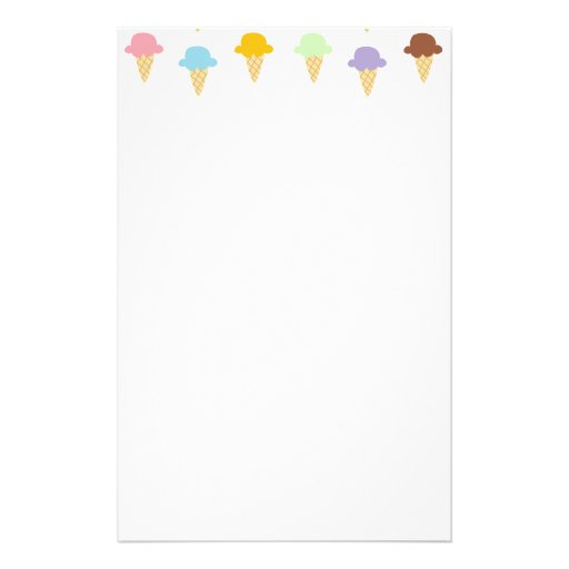 Colorful Ice Cream Cones Customized Stationery