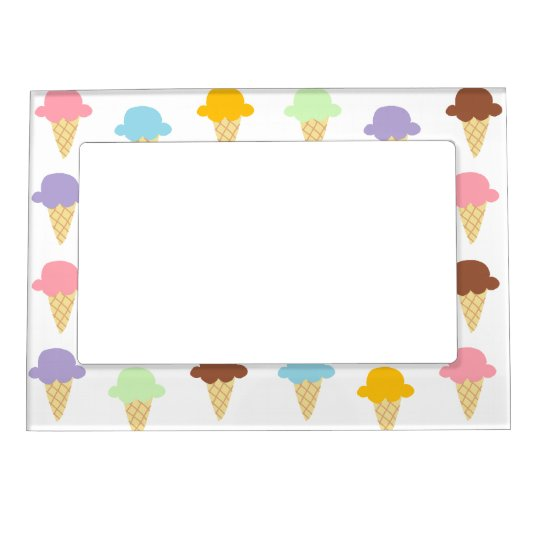 Colorful Ice Cream Cones Magnetic Photo Frame
