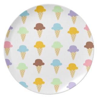 Colorful Ice Cream Cones Melamine Plate