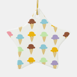 Colorful Ice Cream Cones Double-Sided Star Ceramic Christmas Ornament