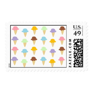 Colorful Ice Cream Cones Postage Stamp