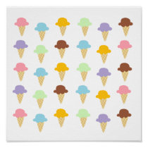 Colorful Ice Cream Cones Poster