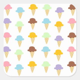 Colorful Ice Cream Cones Square Sticker