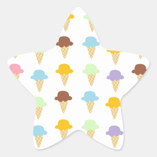 Colorful Ice Cream Cones Star Sticker