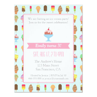 Colorful Ice cream pattern party invitations
