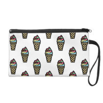 Colorful Ice Cream Pattern Wristlet