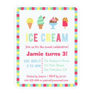 Colorful Ice Cream Summer Party Invitations