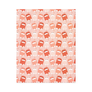 Colorful Ice Cream with Mustaches Stretched Canvas Prints