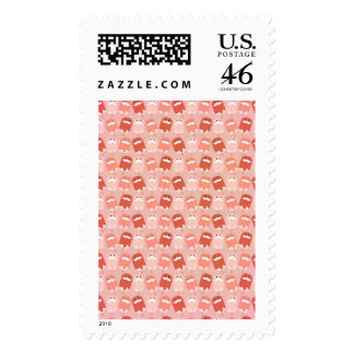 Colorful Ice Cream with Mustaches Postage Stamp