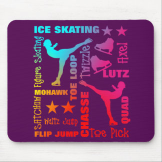 Colorful Ice Skating Theme Terminology Typography Mouse Pad