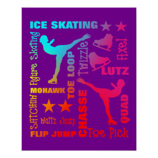 Colorful Ice Skating Theme Terminology Typography Poster