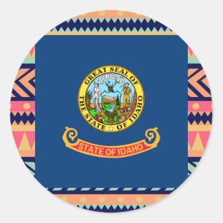 Colorful Idaho Flag Box Classic Round Sticker