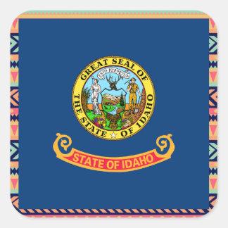 Colorful Idaho Flag Box Square Sticker