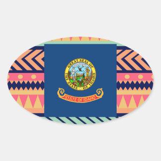 Colorful Idaho Flag Box Oval Sticker