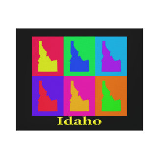 Colorful Idaho State Pop Art Map Canvas Print
