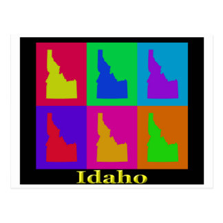 Colorful Idaho State Pop Art Map Postcard