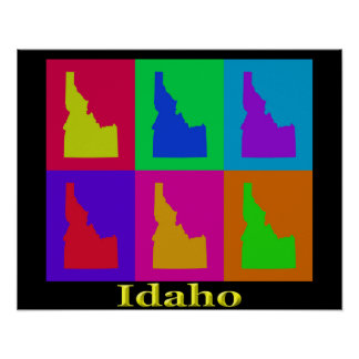 Colorful Idaho State Pop Art Map Poster