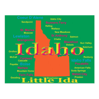 Colorful Idaho State Pride Map Postcard