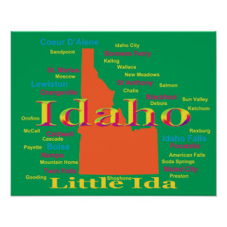 Colorful Idaho State Pride Map Poster