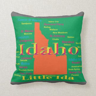 Colorful Idaho State Pride Map Throw Pillow