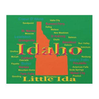 Colorful Idaho State Pride Map Wood Wall Art