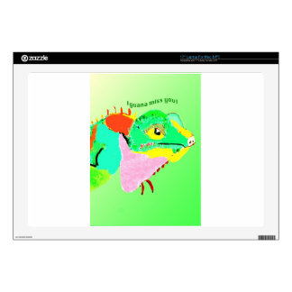 Colorful Iguana on a postcard Laptop Decals