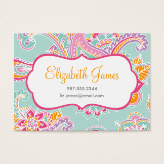 Colorful Illustrated Bohemian Paisley Henna Business Card