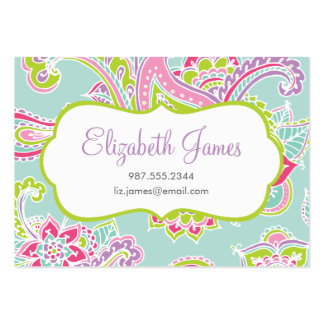 Colorful Illustrated Bohemian Paisley Henna Large Business Cards (Pack Of 100)