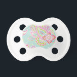 """Colorful Illustrated Bohemian Paisley Henna Pacifier<br><div class=""""desc"""">Custom design features an elegant ornate hand-drawn bohemian mehndi henna tattoo illustration with botanical floral and paisley swirls. Click the Customize It button to add your own text or name monogram to create your own unique one of a kind design.</div>"""
