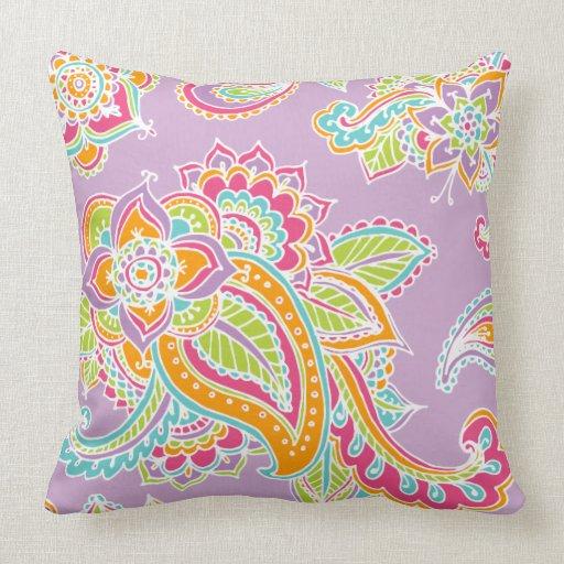 Colorful Bohemian Throw Pillows : Colorful Bohemian Paisley Throw Pillows Zazzle