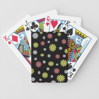 Colorful illustrated daisy floral pattern bicycle poker cards